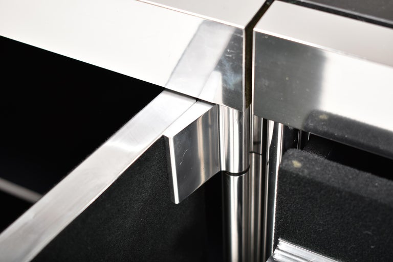 Chrome Guido Faleschini for Mariani, 5 Parts Sideboard For Hermès, France, 1970 For Sale