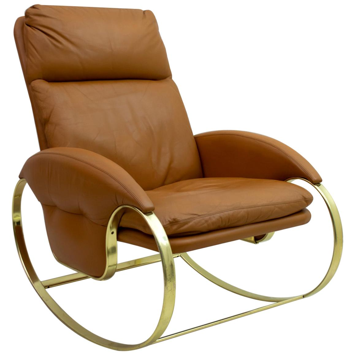 Guido Faleschini Mid-Century Modern Italian Real Leather Rocking Chair, 1970s