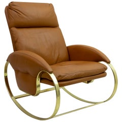 Guido Faleschini Mid-Century Modern Italian Real Leather Rocking Chair, 1970s
