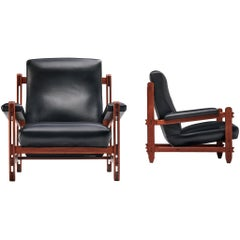 Guido Faleschini Pair of Lounge Chairs in Teak and Black Leather