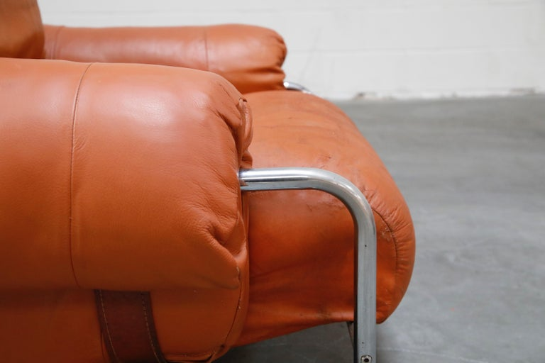Guido Faleschini 'Tucroma' Lounge Chair and Ottoman in Distressed Cognac Leather 7