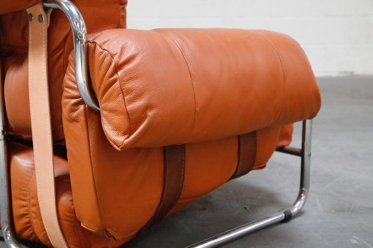 Guido Faleschini 'Tucroma' Lounge Chair and Ottoman in Distressed Cognac Leather 9