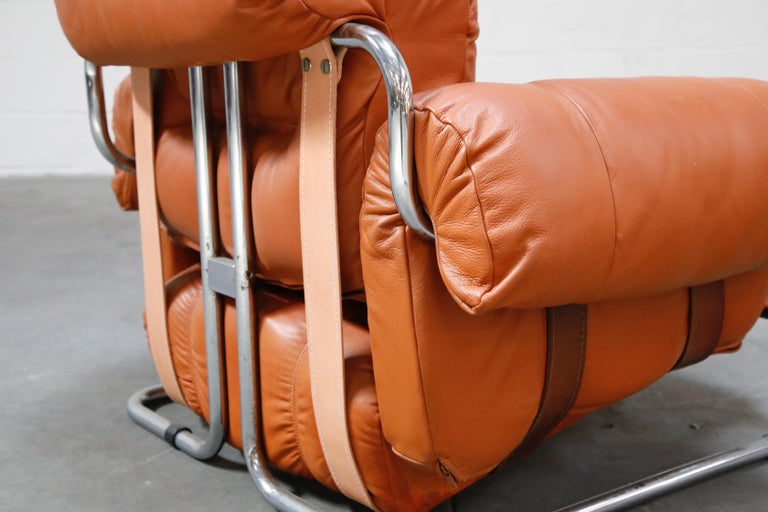 Guido Faleschini 'Tucroma' Lounge Chair and Ottoman in Distressed Cognac Leather 10
