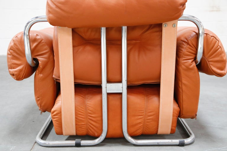 Guido Faleschini 'Tucroma' Lounge Chair and Ottoman in Distressed Cognac Leather 11