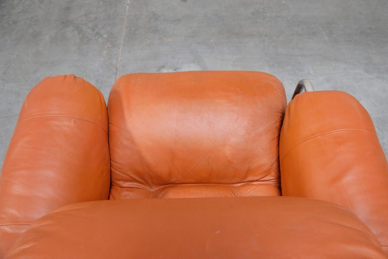 Guido Faleschini 'Tucroma' Lounge Chair and Ottoman in Distressed Cognac Leather 13