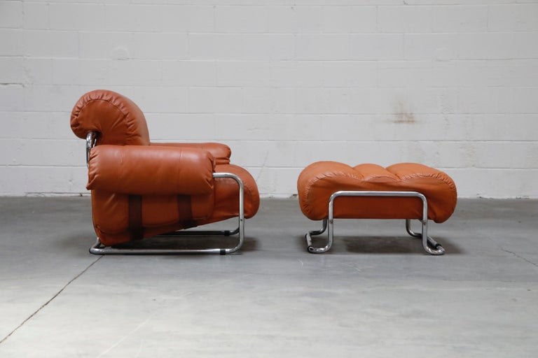 Modern Guido Faleschini 'Tucroma' Lounge Chair and Ottoman in Distressed Cognac Leather