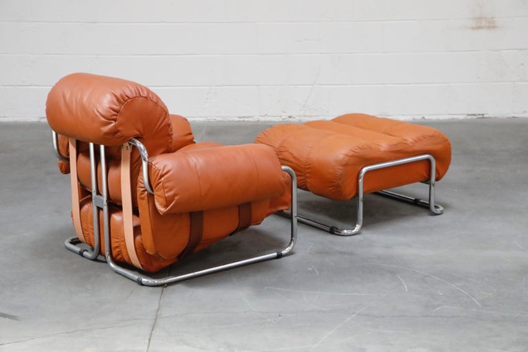 Italian Guido Faleschini 'Tucroma' Lounge Chair and Ottoman in Distressed Cognac Leather