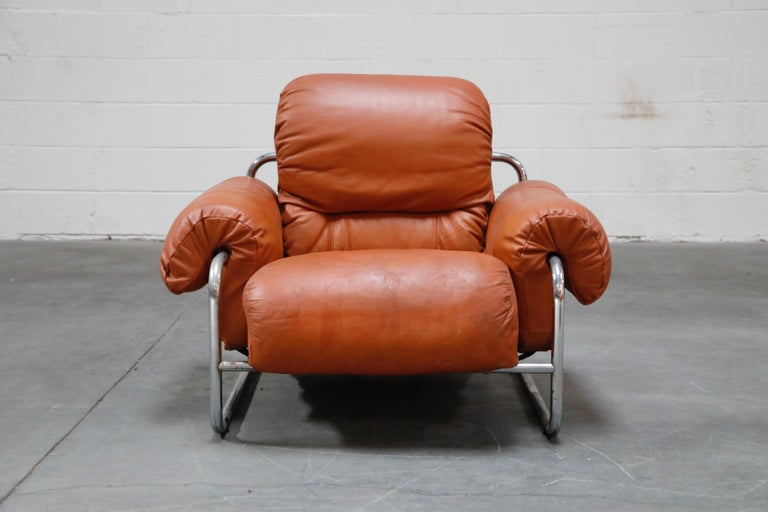 Guido Faleschini 'Tucroma' Lounge Chair and Ottoman in Distressed Cognac Leather In Good Condition In Los Angeles, CA
