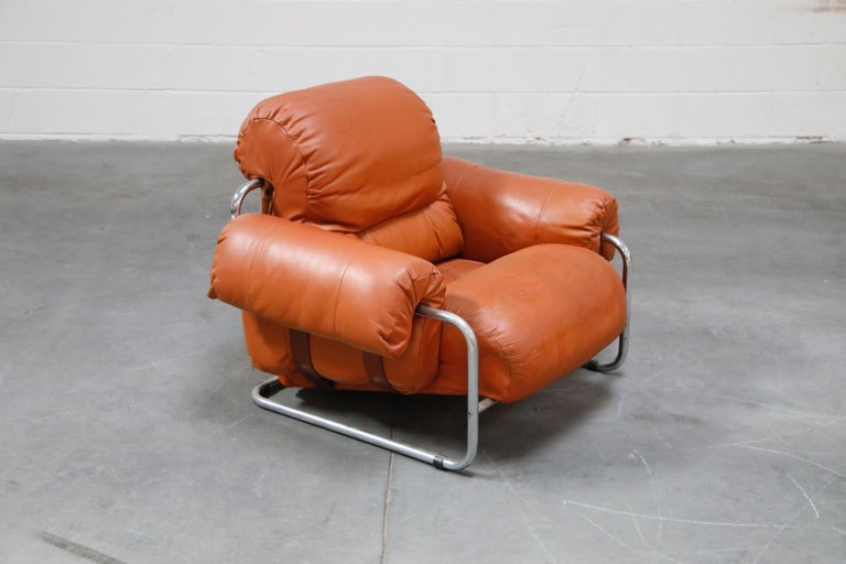 Late 20th Century Guido Faleschini 'Tucroma' Lounge Chair and Ottoman in Distressed Cognac Leather