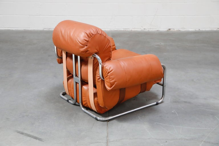 Guido Faleschini 'Tucroma' Lounge Chair and Ottoman in Distressed Cognac Leather 1