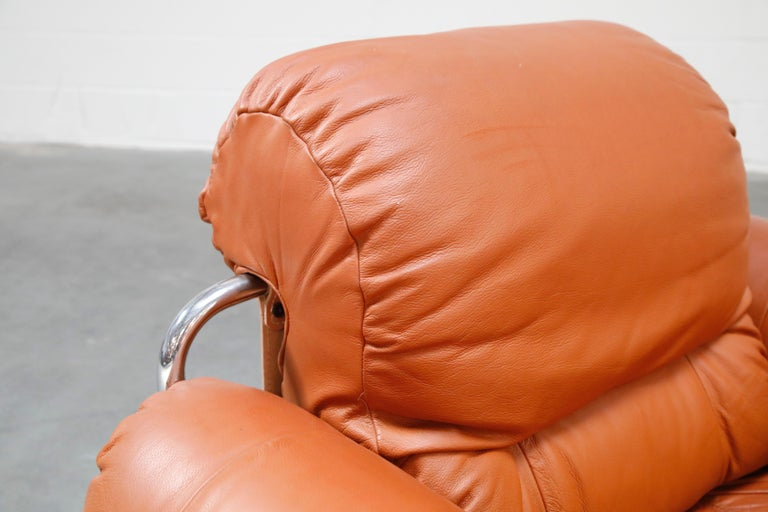 Guido Faleschini 'Tucroma' Lounge Chair and Ottoman in Distressed Cognac Leather 2