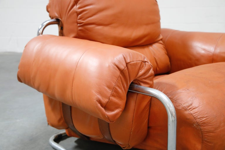 Guido Faleschini 'Tucroma' Lounge Chair and Ottoman in Distressed Cognac Leather 3