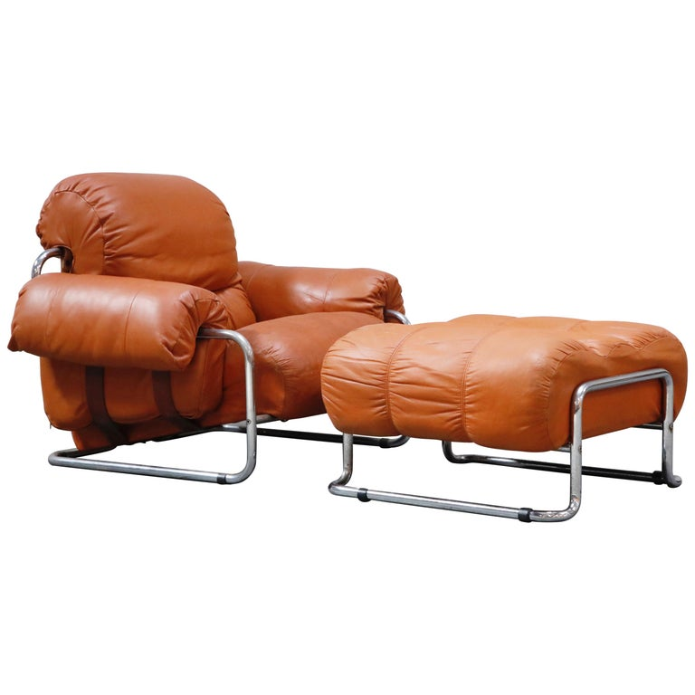 Guido Faleschini 'Tucroma' Lounge Chair and Ottoman in Distressed Cognac Leather