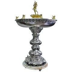 20th Century Silver and Marble Baroque Fountain, 1950s