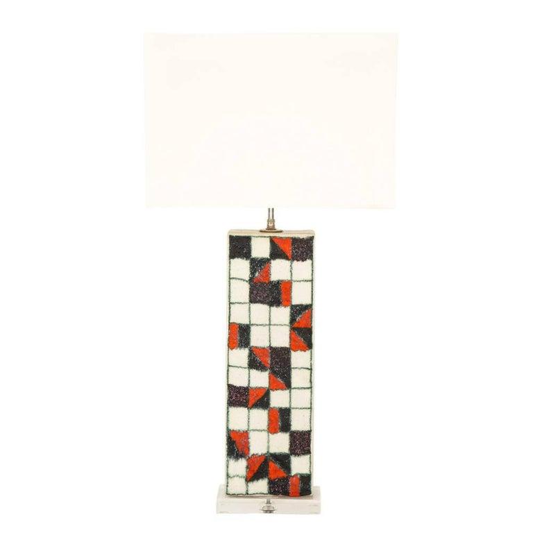 Guido Gambone Ceramic Table Geometric Checks Red Black Lamp Signed Italy 1950's