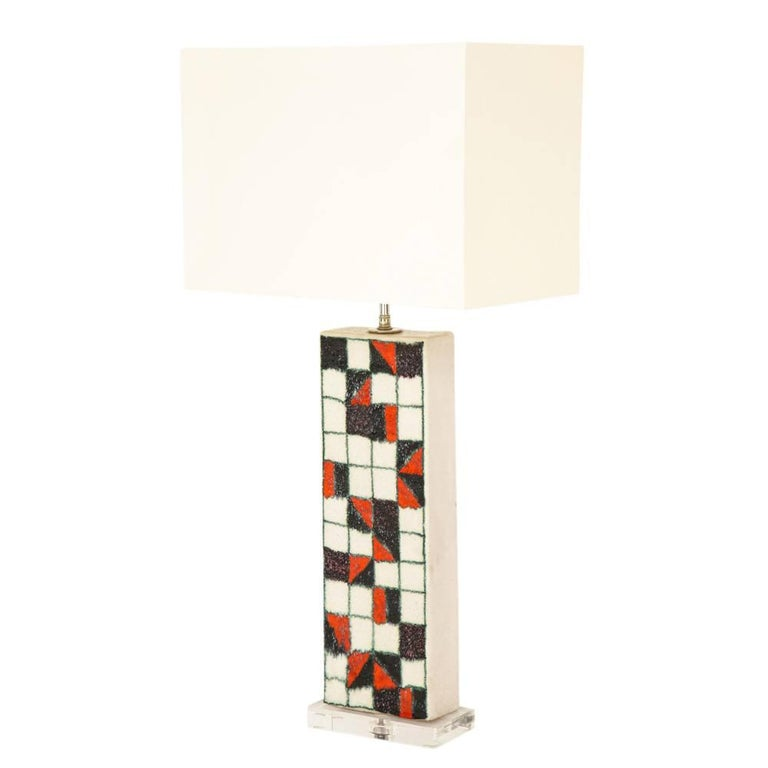Guido Gambone lamp, ceramic, geometric checks, red and black, signed. Medium scale stoneware lamp decorated with black, red and white glazed squares and outlined in light green glaze. The ceramic only measures 18