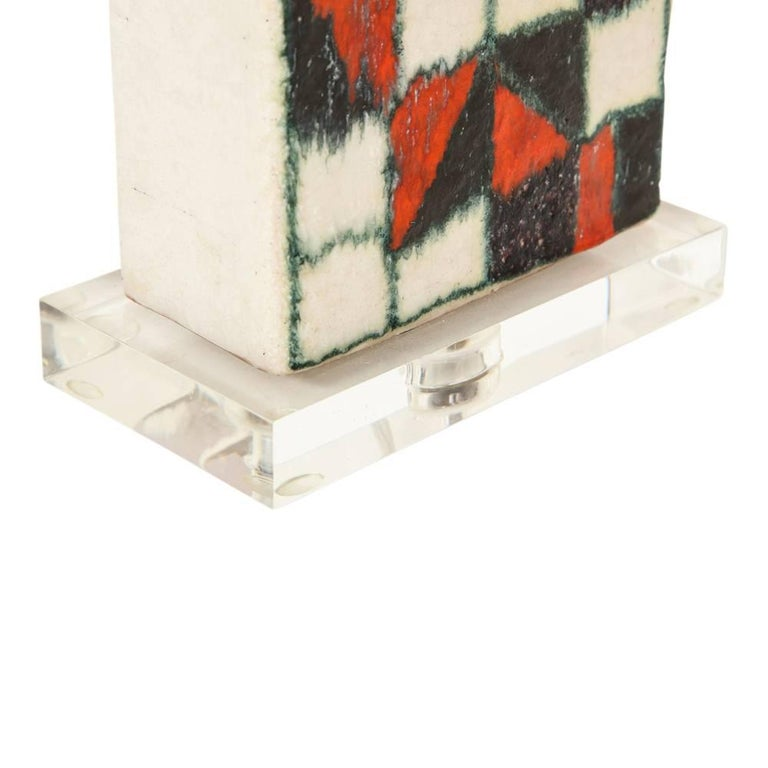 Guido Gambone Lamp, Ceramic, Geometric, Red and Black, Signed In Good Condition For Sale In New York, NY