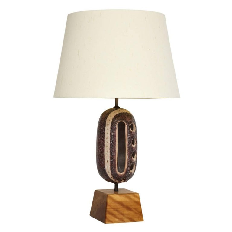 Guido Gambone Ceramic Table Lamp with Cutouts Signed Italy, 1950s
