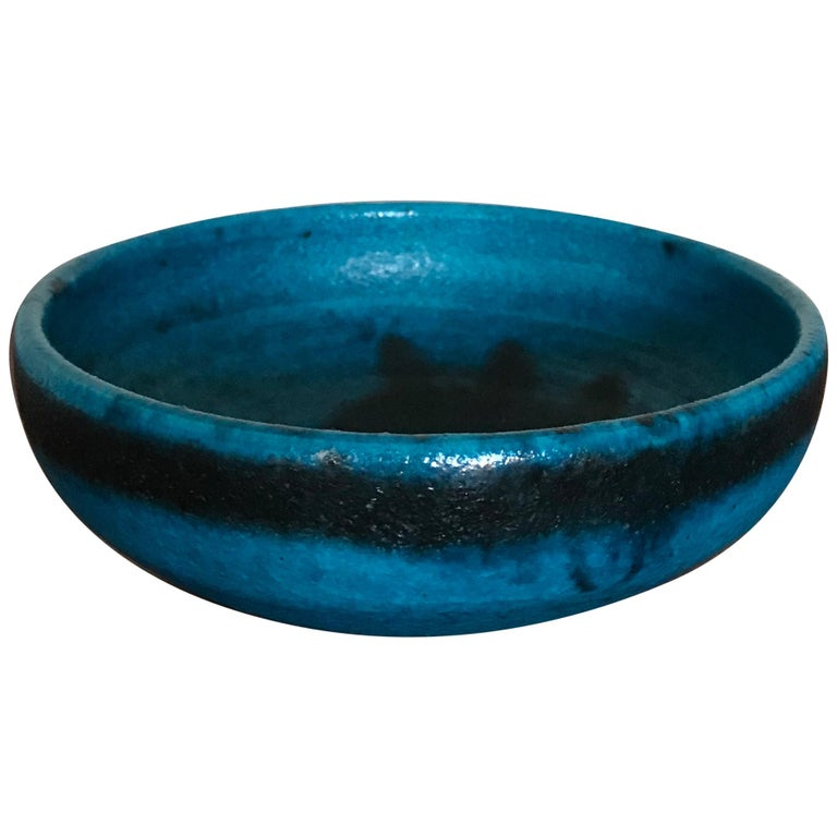 Guido Gambone Italian Mid-Century Modern Design Blue Ceramic Bowl, 1950s For Sale