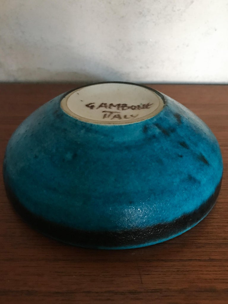 Mid-20th Century Guido Gambone Italian Mid-Century Modern Design Blue Ceramic Bowl, 1950s For Sale