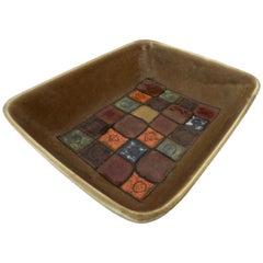 Guido Gambone Italian Polychrome Ceramic Dish Brown Orange and Blue Grid Pattern