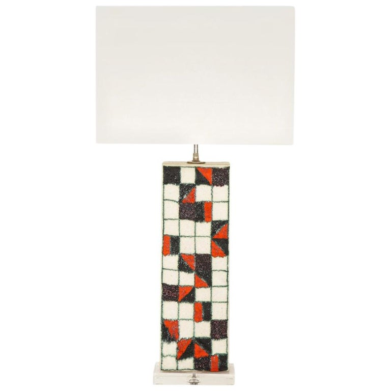 Guido Gambone Lamp, Ceramic, Geometric, Red and Black, Signed For Sale
