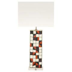 Guido Gambone Lamp, Ceramic Geometric Red Black Signed