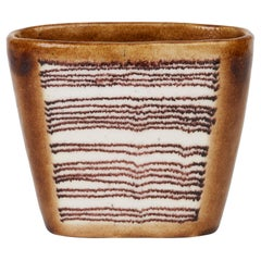Guido Gambone Midcentury Italian Linear Pattern Art Pottery Vase
