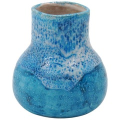 Guido Gambone Pottery Vase in Stunning Blue, Signed