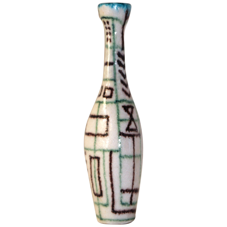 Guido Gambone Signed Ceramic Bottle, Italy, circa 1960