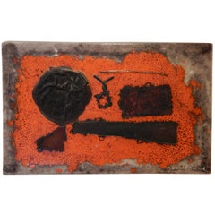 Guido Gambone Unique Abstract Ceramic Tray with Applied Copper