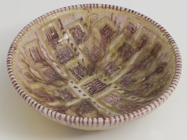 Glazed Guido Gambone Centerpiece Bowl For Sale