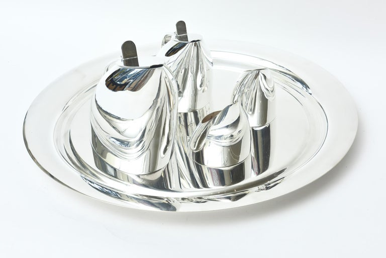 Guido Niest Modernist Silver-Plate Tea Coffee Service Signed Italian In Good Condition For Sale In North Miami, FL
