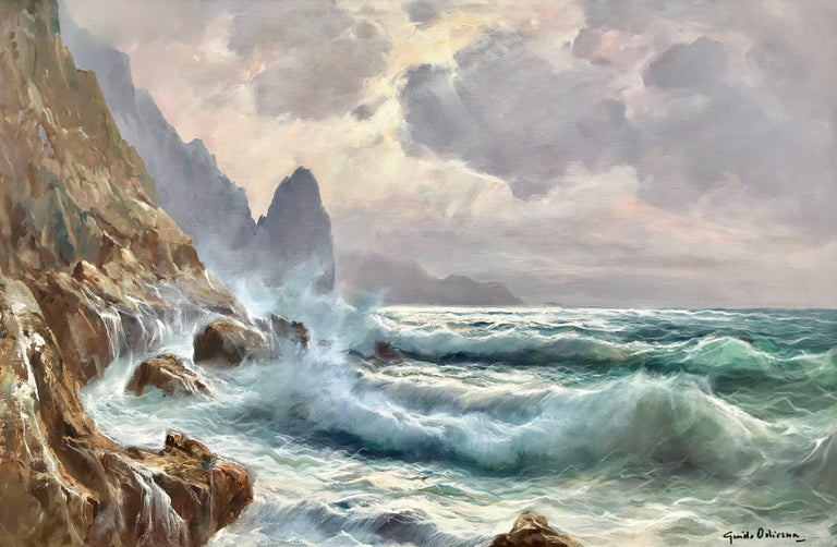 "Guido Odierna Landscape Painting - ""Breakers, Capri"""