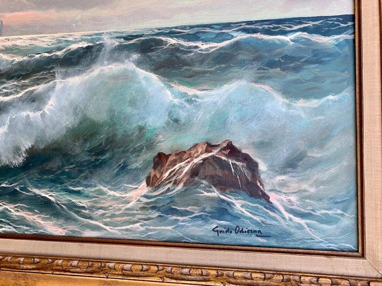 Southern Italian Coastal sea scene, waves crashing onto rocks, with sunsetting - Painting by Guido Odierna