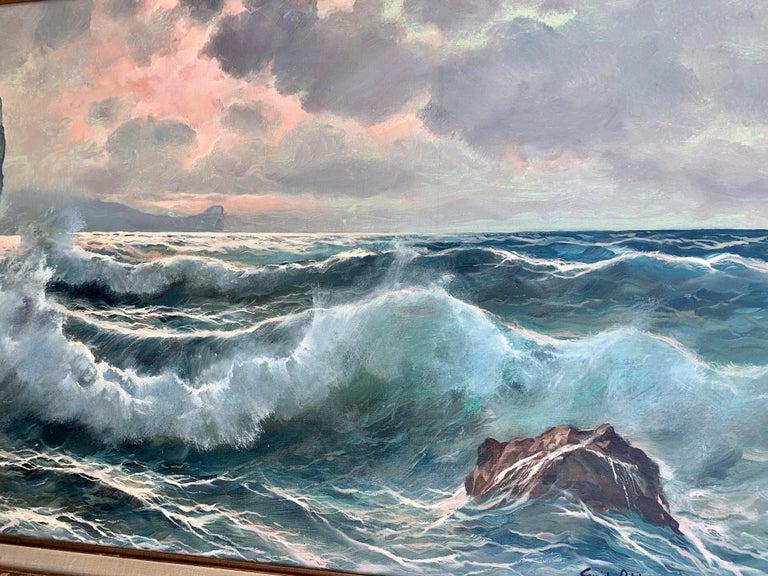 Southern Italian Coastal sea scene, waves crashing onto rocks, with sunsetting - Impressionist Painting by Guido Odierna