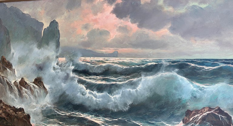 Southern Italian Coastal sea scene, waves crashing onto rocks, with sunsetting - Gray Landscape Painting by Guido Odierna