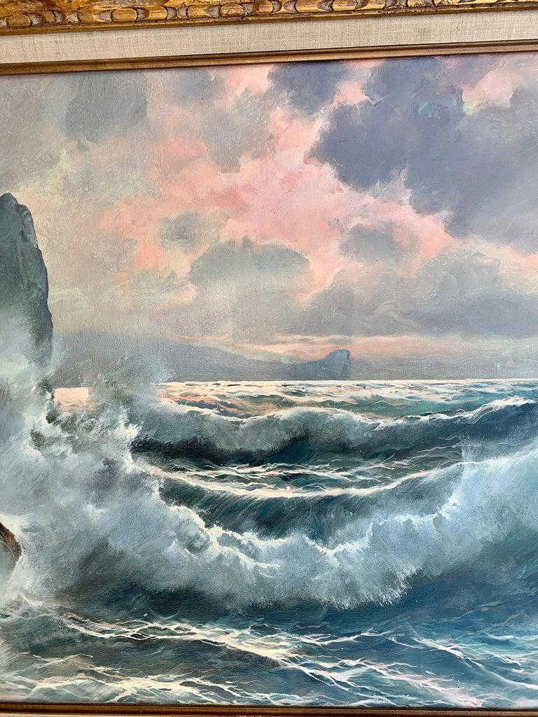 Southern Italian Coastal sea scene, waves crashing onto rocks, with sunsetting For Sale 1