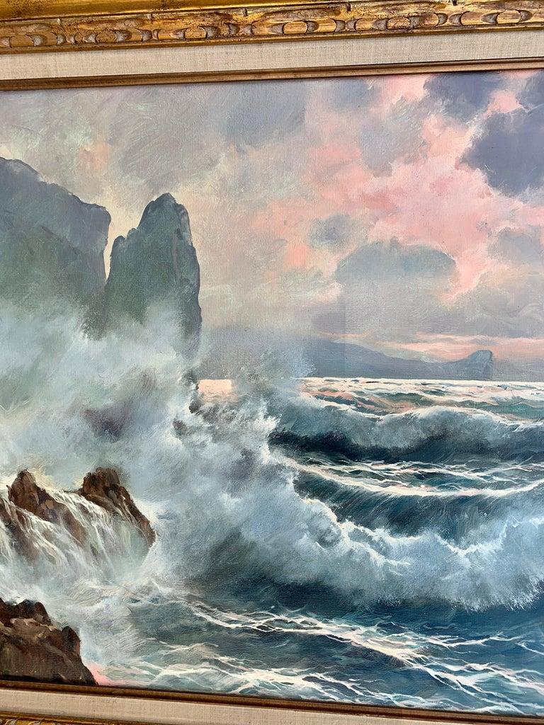 Southern Italian Coastal sea scene, waves crashing onto rocks, with sunsetting For Sale 2