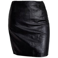 "Guido PELLEGRINI ""New"" Black Leather Mini Skirt - Unworn"