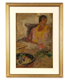 Portrait of Woman and Still Life - Original Oil on Canvas by G. Peyron - 1940s