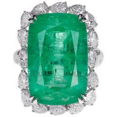 Guild Certified 17 Carat Russian Emerald and Diamond Huge Ring