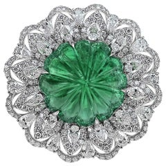 Guild Certified 22.86 Carat Intense Green Emerald Antique Ring