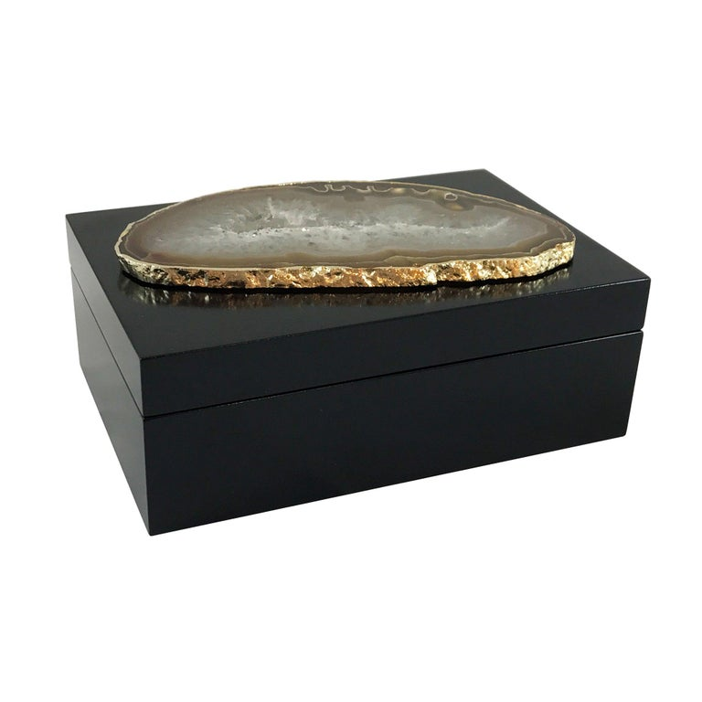 Guilherme Large Agate Box in Black and Gold by CuratedKravet For Sale
