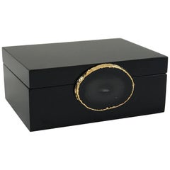 Guilherme Small Agate Box in Black and Natural Stone by CuratedKravet