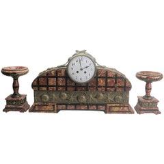 Guillard Chimney Mantel Art Dedo Clock with Site Plates