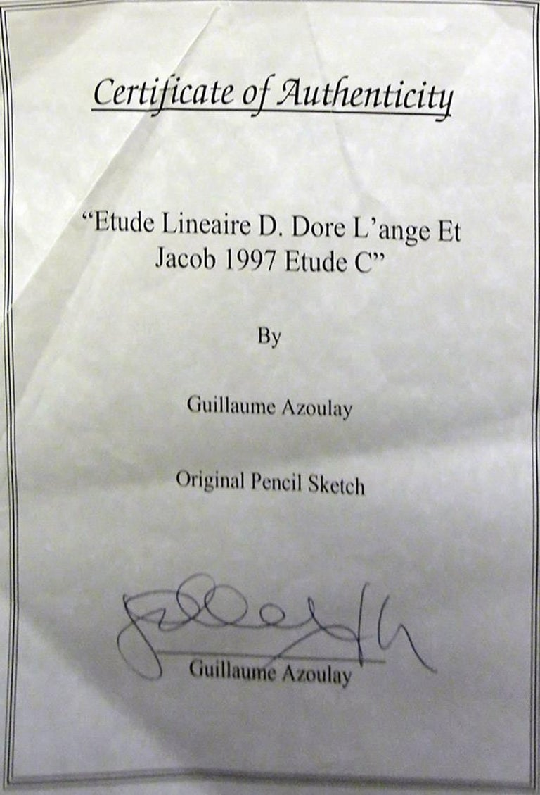 ETUDE LINEAIRE D. DORE L'ANGE ET JACOB 1997 ETUDE C - Gray Figurative Art by Guillaume Azoulay