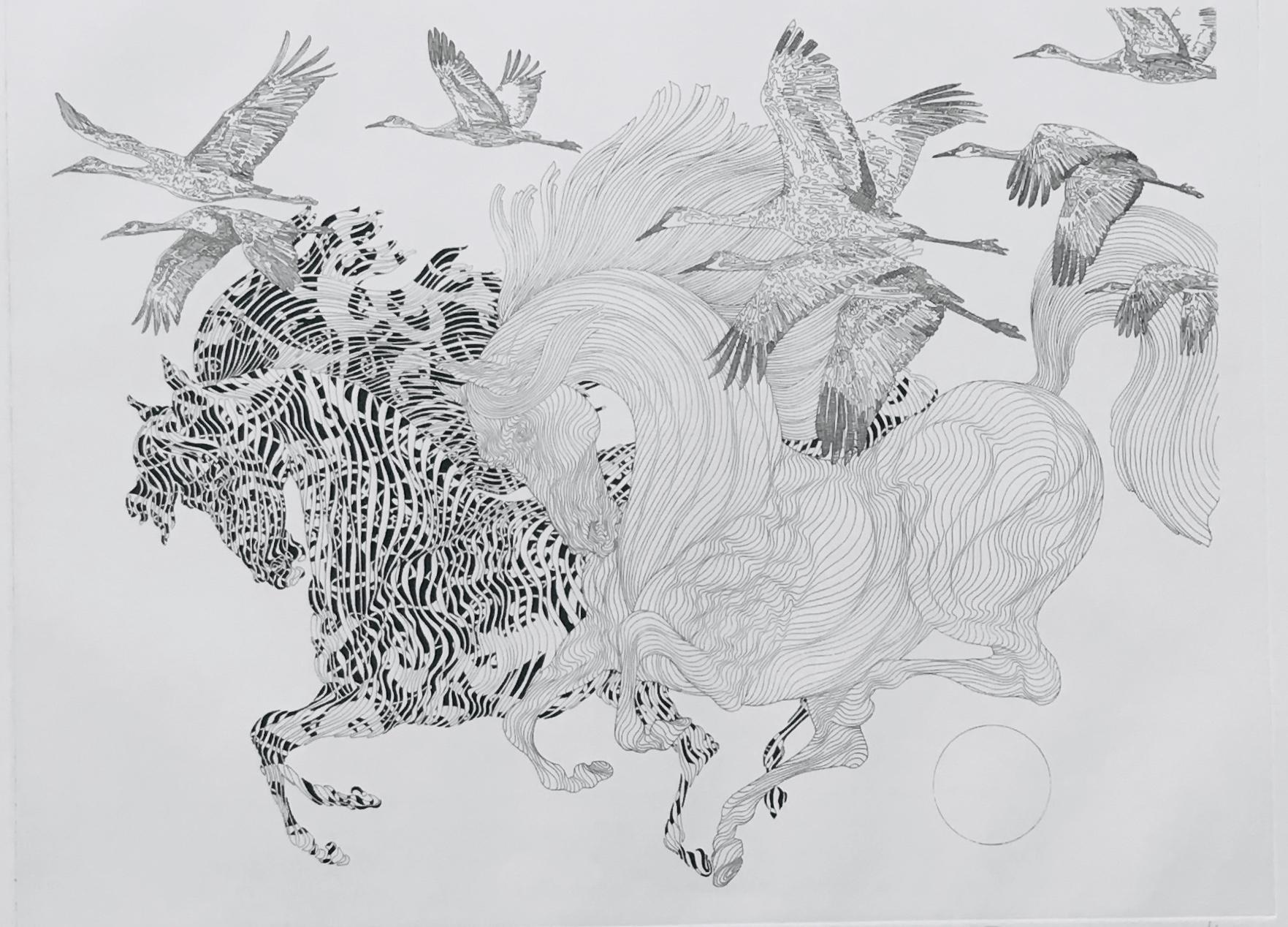 Guillaume Azoulay, Le Vol de Grues, 2016, Horses, Etching on Paper