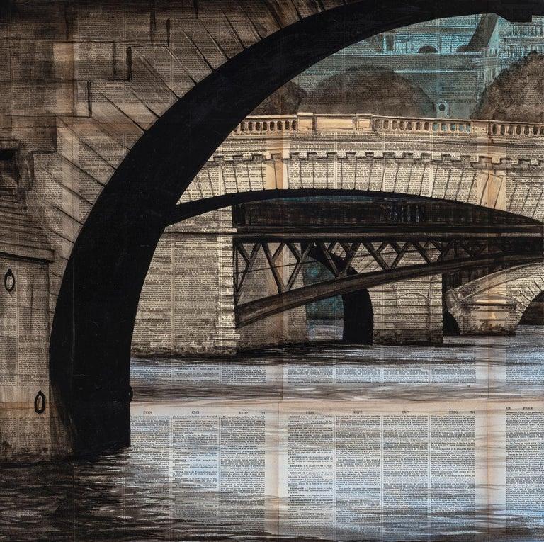 Guillaume Chansarel (Guiyome) Landscape Painting - Arches by Guillaume Chansarel - Urban Landscape painting, Bridges of Paris