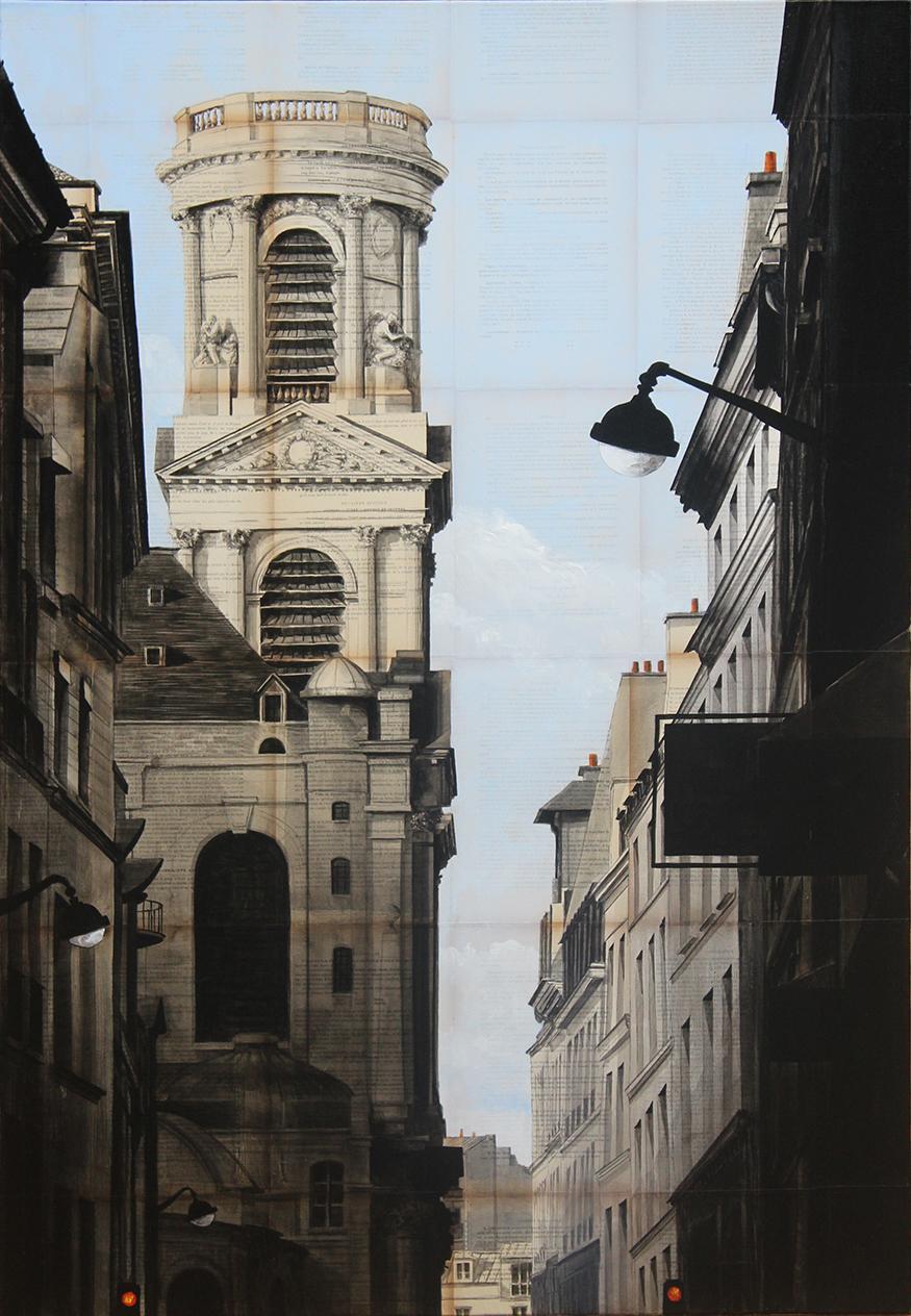 Badaboum - Urban Landscape Painting, Church of Saint-Sulpice, Paris
